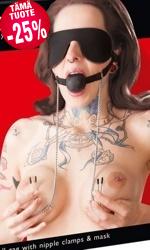 Mask with Ball Gag and Nipple Clamps